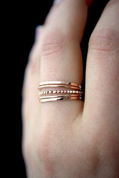 These rings are handmade by the designer herself in her Portland, OR studio. * MEDIUM THICK RINGS * These medium thick rings mix together beautifully! The contrast between smooth, hammered and lined textures is incredibly eye-catching. These stacking rings are perfect for mixing and