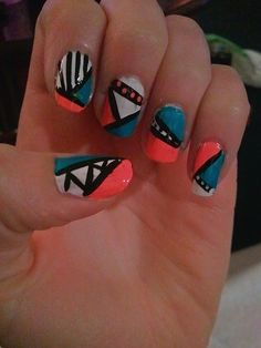 Tribal nail art. Just use tape, and skinny brushes♥