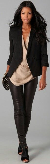 Black Blazer, Taupe/Gold Top, & Leather Pants with Black booties. I have 4/5 of this outfit.