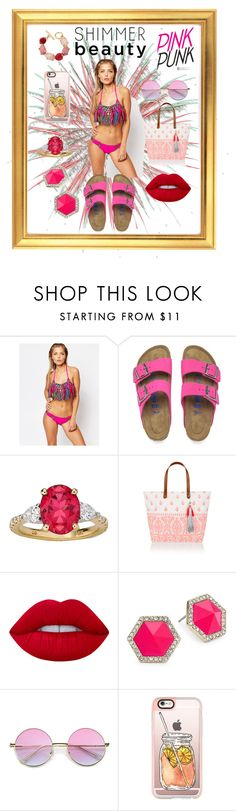 """""""(☆^ー^☆)"""" by aloha-its-marru ❤ liked on Polyvore featuring Beach Riot, Birkenstock, Accessorize, Lime Crime, ABS by Allen Schwartz, Casetify and Oscar de la Renta"""