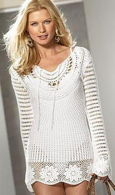 Вязание крючком - туника long sleeve shirt with half circle pattern at neck and granny square pattern hem