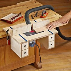 Bench-mounted Router Table Plan from WOOD Magazine table plans table diy workbenches Learn Woodworking, Woodworking Workbench, Popular Woodworking, Woodworking Furniture, Woodworking Crafts, Garage Workbench, Furniture Plans, Garage Plans, Woodworking Techniques