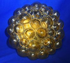Mid Century 60´s Round Bubble Glass Wall or Ceiling Lamp Limburg #BP