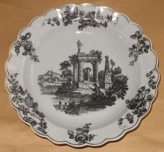 WORCESTER CLASSICAL RUINS PRINTED DESSERT PLATE 1 C1775