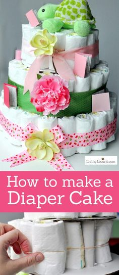 Learn how to make a diaper cake for a baby shower with this easy craft tutorial! Step by step photo instructions for this homemade centerpiece baby gift.