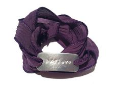 "I love this ""believe"" hand stamped metal & purple silk wrap bracelet.. <3"