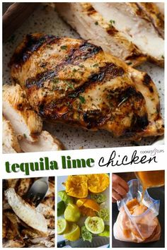 Tequila Lime Chicken is one of our favorite grilled chicken recipes in the summer...or all year long! The smoky, citrus marinade paired with the subtle flavor the tequila gives the chicken is a winning combination. #cookiesandcups #tequilalimechicken #chickenrecipe #grilledchicken