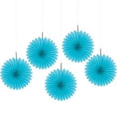 Caribbean Blue Hanging Fan 6in 5ct - Party City Canada
