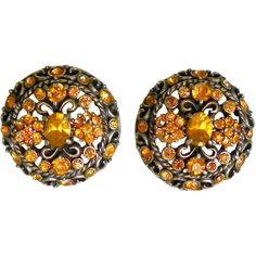 Hollycraft Yellow Topaz Rhinestone Screw Back Earrings 1961