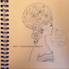 Sketchbook page, canvas idea development.