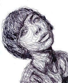 Dit kunstwerk bestaat alleen maar uit lijnen. Door de dikkere lijnen ontstaat er schaduw. En door de hoeveelheid lijnen een figuur.