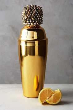 Clustered Bell Cocktail Shaker - anthropologie.com - hayden it doesn't have to be this one, but it has to be gold no matter what