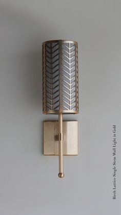 Gold Single Stem wall light with Birch Lattice (With images) Lounge Lighting, Outdoor Wall Lighting, Cool Lighting, Sconces Living Room, Living Room Lighting, Wall Sconces, Gold Wall Lights, Room Lights, Ceiling Lights
