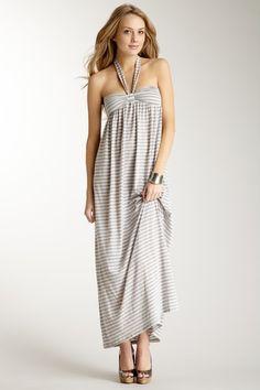 Mystree Womens Collection - Long Stripe Halter Dress
