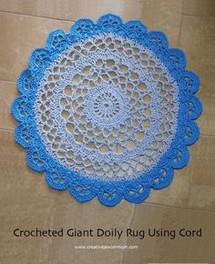 Giant Crocheted Doily Rug Using Cord