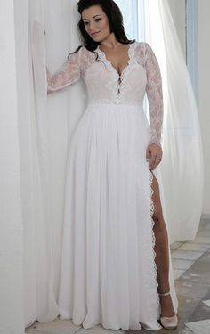 Prettiest 8 Plus Size Summer Wedding Dresses: Sexy long sleeve plus size summer wedding dress with V-neck and side slit by Darius Cordell
