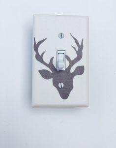 Woodland Deer Light Switch Plate Nursery Cover Kids Room Grey Ivory Outlet