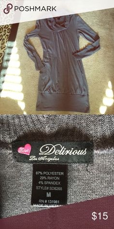 🌟30% OFF 2! Delirious Los Angeles dress or top! Delirious Los Angeles dress or top. 67% polyester 29% rayon 4% spandex this is a size junior medium I'm an adult size 2 to 4 and I wore this with tall boots as a dress & I wore it with leggings. It's very flattering Delirious LA Dresses