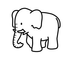 Cartoon elephant animals coloring pages for kids, printable free