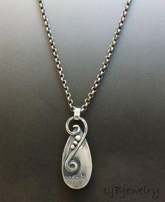 Silver Necklace Gemstone Necklace Chrysocolla Stone by LjBjewelry