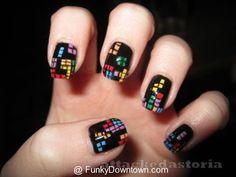 "pixelated ""tetris"" fingernails"