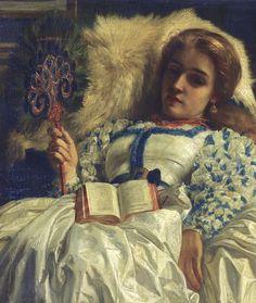 Edward John Poynter (English, 1836-1919). The Peacock Fan (detail), 1864