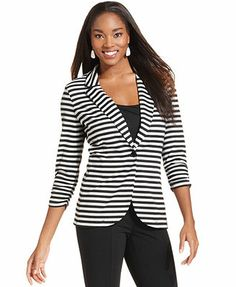 Style&co. Three-Quarter-Sleeve Striped Blazer   On sale at Macy's for $35.99