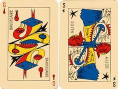 Le jeu de Marseille, Tarot surréaliste * Baudelaire. Génie d'Amour. Flamme  Alice. Sirène de Rêve. Étoile