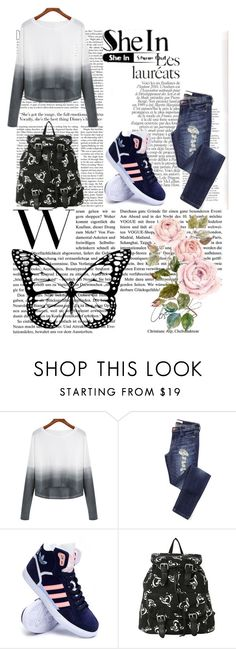 """""""Shein Contest"""" by erna-pozderovic ❤ liked on Polyvore featuring adidas, women's clothing, women's fashion, women, female, woman, misses and juniors"""