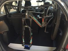 DIY Interior Bike Rack - in-car bike mount using Rocky Mounts Hot Rod mount in a Honda Fit for a Santa Cruz Hightower. Will work for pretty much any car/bike combo with the space and some mods/adjustments.