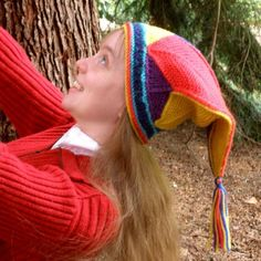 Colorful Knitted Jester Cap hand knitted by Mountain Mist Fiberworks https://www.etsy.com/shop/MountainMist