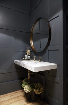 modern powder rooms Cool Fabulous Industrial Loft Make Over Ideas For Trendy Home Powder Room Decor, Powder Room Design, Dark Bathrooms, Beautiful Bathrooms, Bathroom Interior Design, Home Interior, Contemporary Interior, Luxury Interior, Ideas Baños