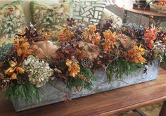 Fall Centerpiece - stuffed full, pumpkins, flowers, greenery and bare vines