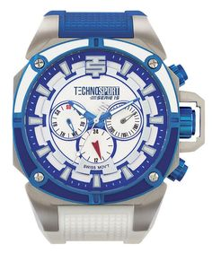 Technosport TS-100-12M Men's Watch Swiss Multifunction Blue/White Silicone Strap
