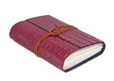 Leather Journal - Handmade Journal - Burgundy Alligator Embossed Leather Journal - Lined Paper - Ready to Ship - Burgundy Leather -