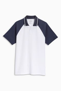 Buy White Raglan Sleeve Polo Shirt from the Next UK online shop