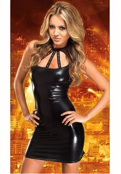 Sexy Black Cut Out Neck Stripper Mini Dress - JR3181 - savagearenadealsaustralia.com