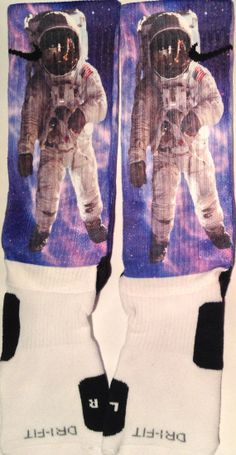 Moonman in Space Custom Nike Elite Socks