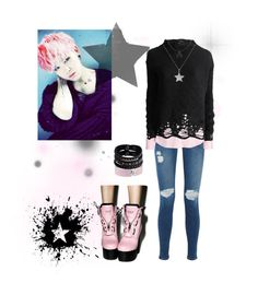 """Pink Z"" by vinne on Polyvore featuring Current/Elliott, Alexander McQueen, H&M, Thom Krom, Current Mood, Replay, Belcho, Pink, black and kpop"
