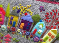 What a pleasure to have the delightful Wendy Williams from Flying Fish Kits come back to Kimz for another wonderful wool felt applique work. Fabric Art, Fabric Crafts, Sewing Crafts, Wool Applique Patterns, Felt Applique, Wool Quilts, Wool Applique Quilts, Patchwork Quilting, Wool Embroidery