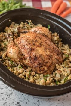 This Crockpot Whole Chicken and Stuffing is a simple yet delicious one-pot meal that is  great dish for the holidays or any night of the week. via @familyfresh Slow Cooker Recipes, Crockpot Recipes, Easy Recipes, Roasted Smashed Potatoes, Family Fresh Meals, Winner Winner Chicken Dinner, Yummy Chicken Recipes, Stuffed Whole Chicken, One Pot Meals
