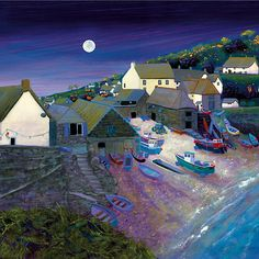 ۩۩ Painting the Town ۩۩  city, town, village & house art - Gilly Johns. Cadgwith  Moonlight from The Todden