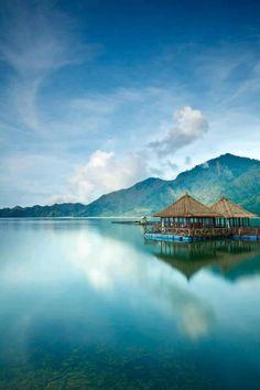 The Kedisan floating restaurant on Lake Kintamani,Bali, Indonesia