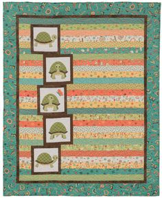 Turtle Tale baby quilt - easy strip piecing + fusible applique = quick baby quilt!