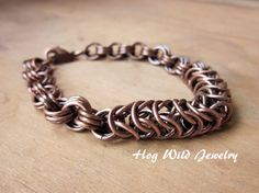 Antiqued Solid Copper Chainmaille Bracelet by hogwildjewelry