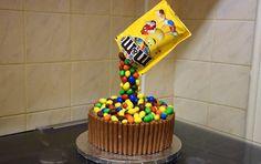 Anti Gravity Cake with M&Ms