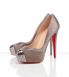 """Louboutin Maggie steel toe pump in lizard-esque calf zeus leather. 5.5"""" heel & 1.6"""" platform. $1095.00"""