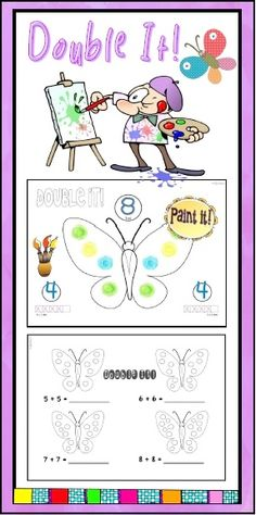 """Teach the concept of doubles with this differentiated """"Butterfly Math"""" lesson. Paint (or color) butterfly templates using five and ten frame activities. Includes butterfly templates, mini-lesson graphics, practice worksheets and homework printables."""