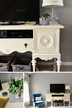 Don't forget that a console or buffet can work as a media center! See how @cheryl ng Sousan | Tidymom.net Repurposed this buffet turned media cabinet at TidyMom.net