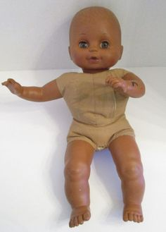 """Vintage Cititoy Baby Doll Brown Skin 15"""" Cloth Torso 1991 Needs Cleaning Repair #Cititoy #Dolls"""